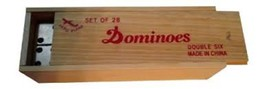 Dominos Double Six Set 28 Case Wooden Box Vintage Ivory Domino cards sto... - $24.16
