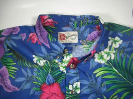 "HILO HATTIE The Original Hawaiian Shirt""  Med Blue Flowers Half Button T... - $39.99"