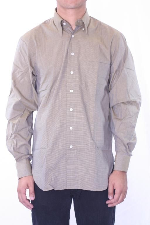 17.5 x 34 NWT Robert Talbott Fine Weave Olive Green LS Button Down Dress Shirt