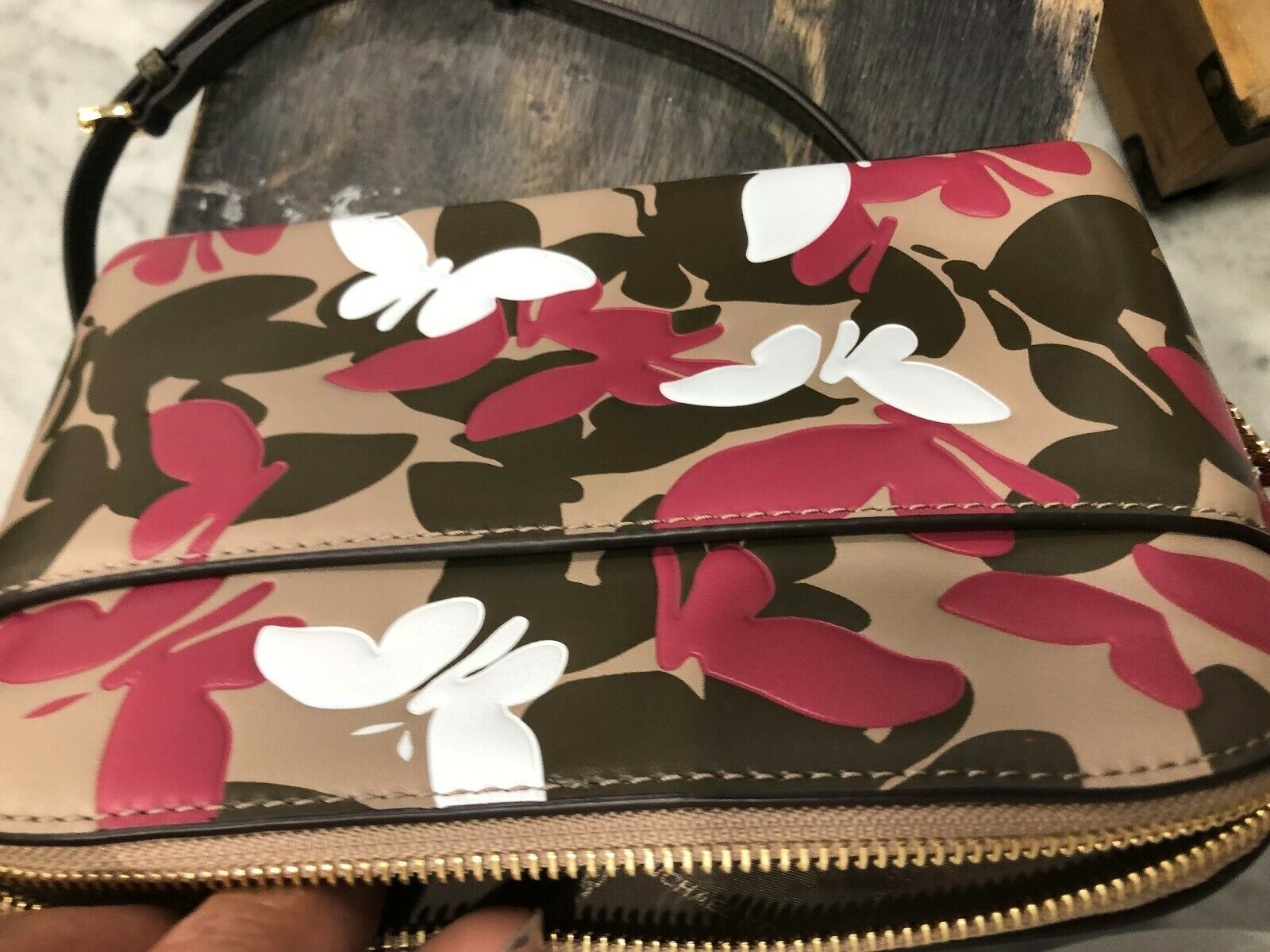 Michael Kors Cindy Large Dome Crossbody Bag in Butterfly Camo Embossed Leather