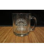 Starbucks Clear Glass Coffee Mug Tea Cup / White Mermaid etched Logo - $14.99