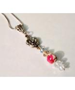 Porcelain Rose Pendant With Swarovski Crystals ... - $12.99