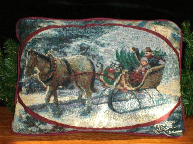 Primary image for THOMAS KINKADE CHRISTMAS TAPESTRY PILLOW - EXCELLENT ITEM!