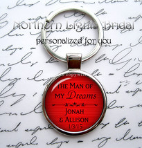 Romantic Red Groom Silver Key Chain, Man of My Dreams, Names and Date, M... - $18.99