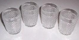 (4) Anchor Hocking Pressed Glass checkered Design Mini Juice Glasses - $39.99