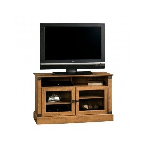 tv stand entertainment center sauder pine storage furniture console media panel entertainment