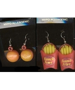 Funky Cheeseburger BURGER FRENCH FRY FRIES EARRINGS Fast Food Charms Jew... - $8.97