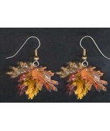 OAK LEAF LEAVES EARRINGS -Autumn Acorn Tree Thanksgiving Jewelry - $6.97