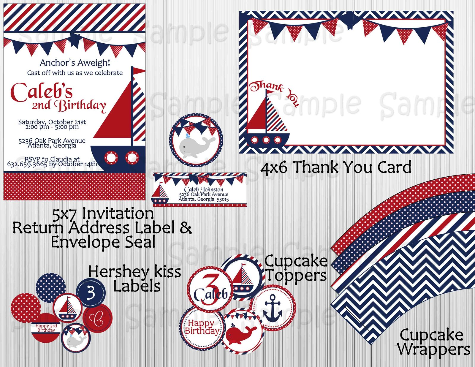 Primary image for Nautical Boy Birthday Party Package: Decorations, Printable, Personalized