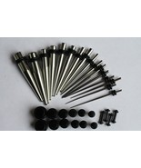 0g 2g 4g 6g 8g 12g 14g - 32pc Ear Stretching Kit  gauge STEEL Tapers BLA... - $24.73