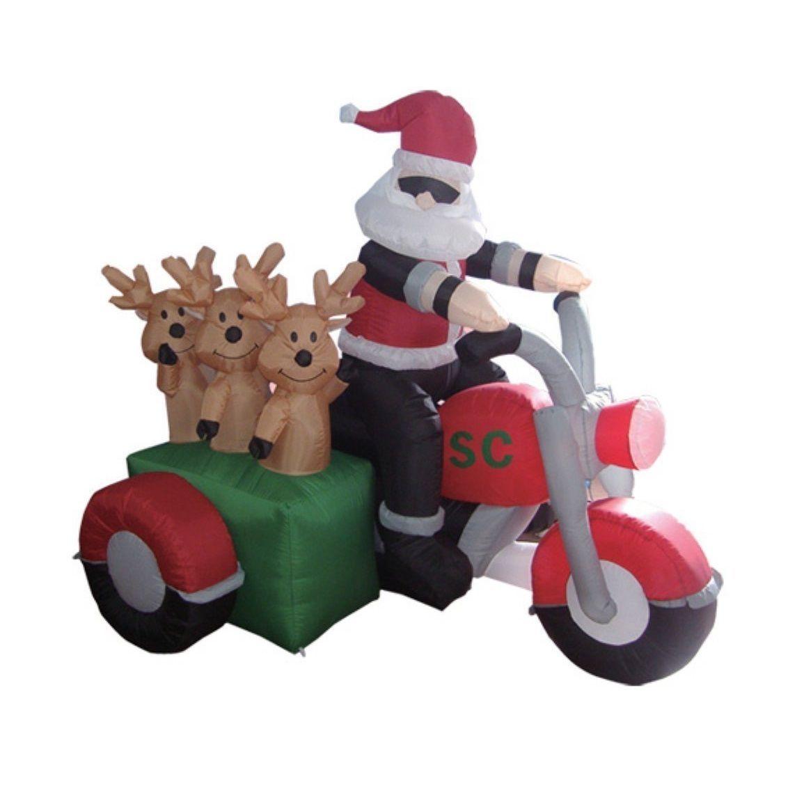 Inflatable biker santa cool claus reindeer bike ride patio