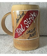 Red Stripe Beer Carved Wood Mug Hand Carved Jamaica Barware Bamboo Novelty - $9.85