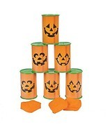 Jack O Lantern Pumpkin Can toss game - Halloween Party Game - £19.51 GBP