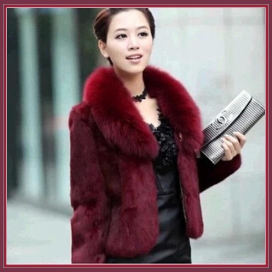 Luxurious Burgundy Wine Mink Hair Faux Fur Jacket Wide Collar Short Waist Coat