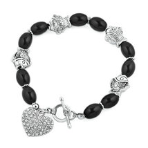 Pugster Black Beaded Heart Charm Cable Chunky Chain Toggle Clasp Bracelet  - $33.49