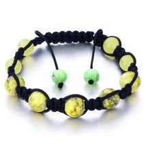 Pugster Shamballa Bracelet Yellow Pattern Murano Glass On Black Cotton  - $11.99