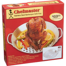 Stainless Steel BBQ Grill Tray with Cylinder to Grill a Whole Chicken Be... - $28.95