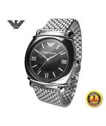EMPORIO ARMANI AR0282 Men Women ROUND Watch SILVER STEEL Bracelet BLACK ... - $440.59