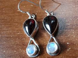 Garnet Rainbow Moonstone Earrings 925 Sterling Silver Dangle Teardrop Round New - $23.75