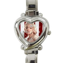 Marilyn Monroe Photo Logo Custom Heart Italian Charm Watch - $15.00