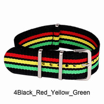 22mm X 255mm Nato Canvas Nylon wrist watch Band strap GREEN BLACK RED YE... - $15.52