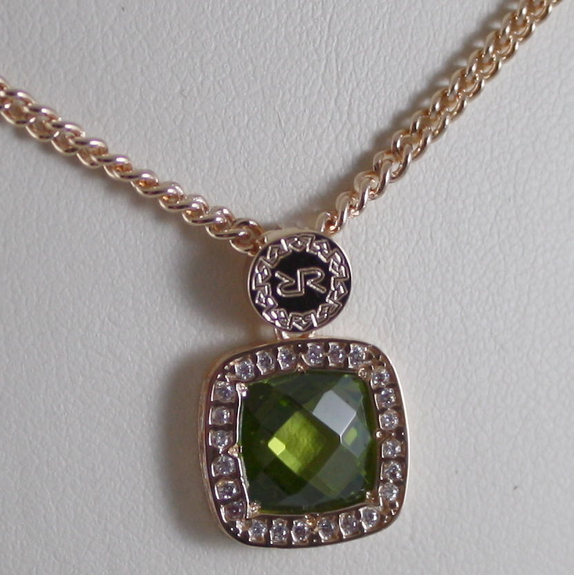 YELLOW BRONZE NECKLACE B14KOP22 & SQUARE GREEN QUARTZ BY REBECCA MADE IN ITALY