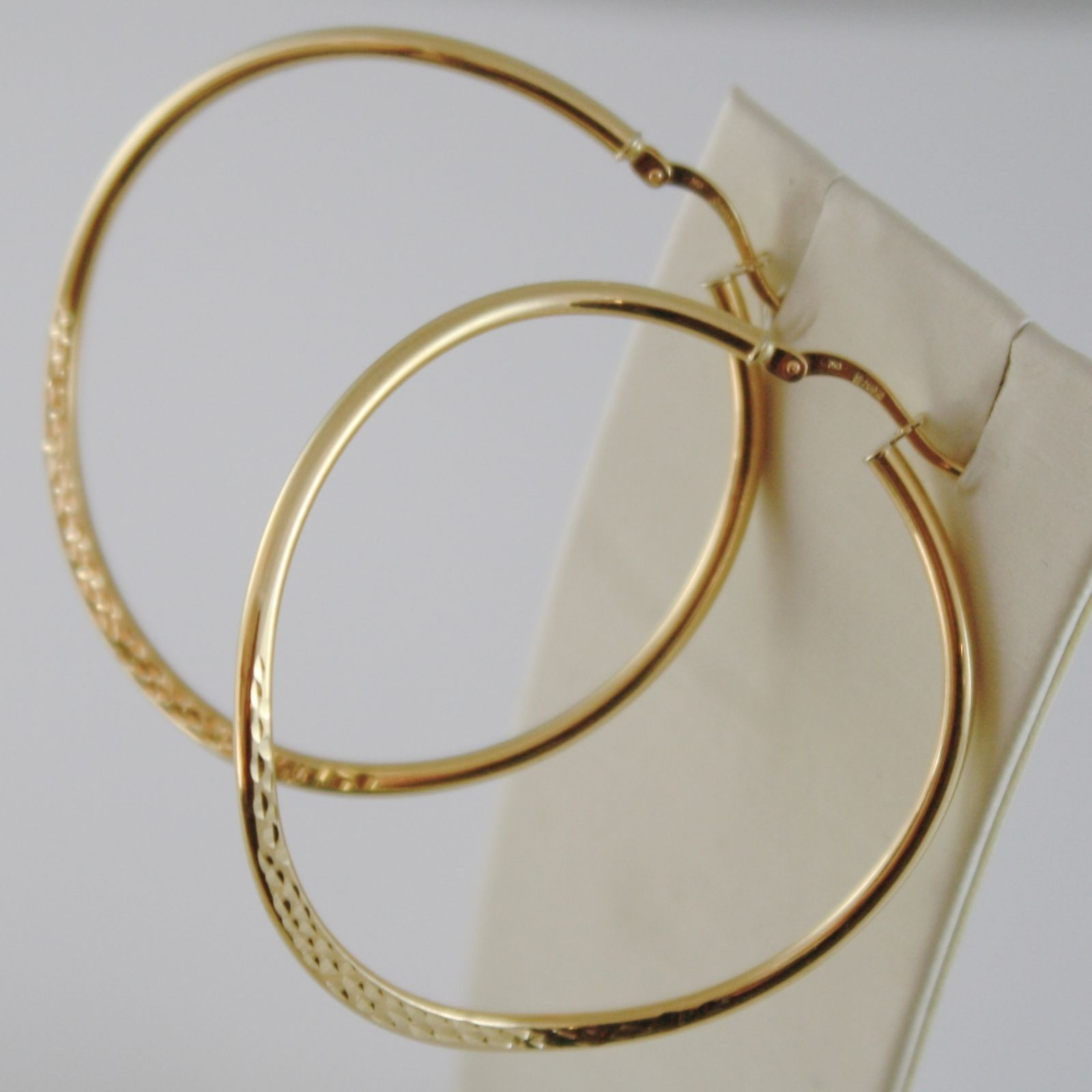 SOLID 18K YELLOW GOLD CIRCLE, HOOP ONDULATE WORKED BIG EARRINGS, MADE IN ITALY