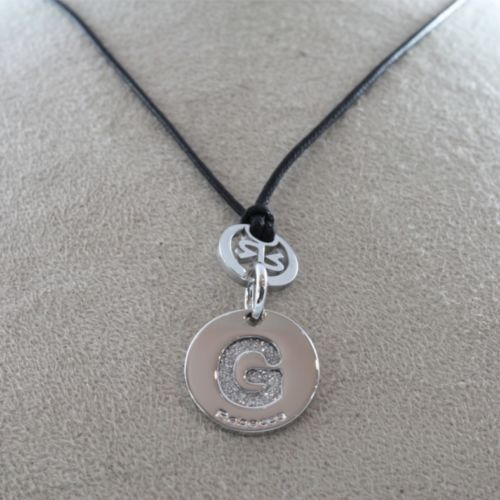 "RHODIUM-PL​ATED BRONZE LETTER ""G"" PENDANT WAXED CORD BY REBECCA MADE IN ITALY"