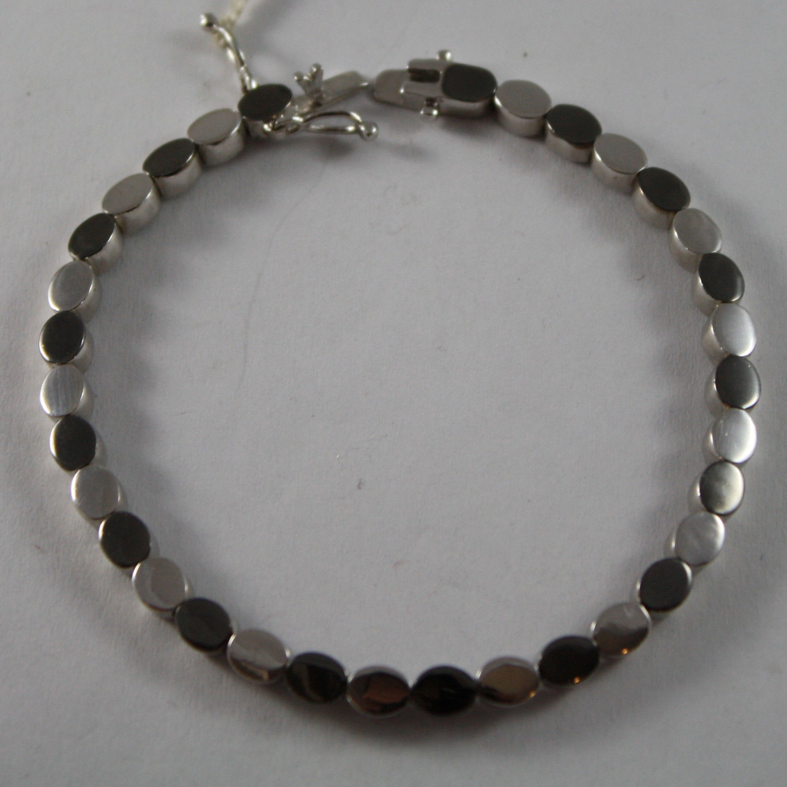 .925 RHODIUM SILVER BRACELET WITH OVAL MESH SHINY AND GRAY