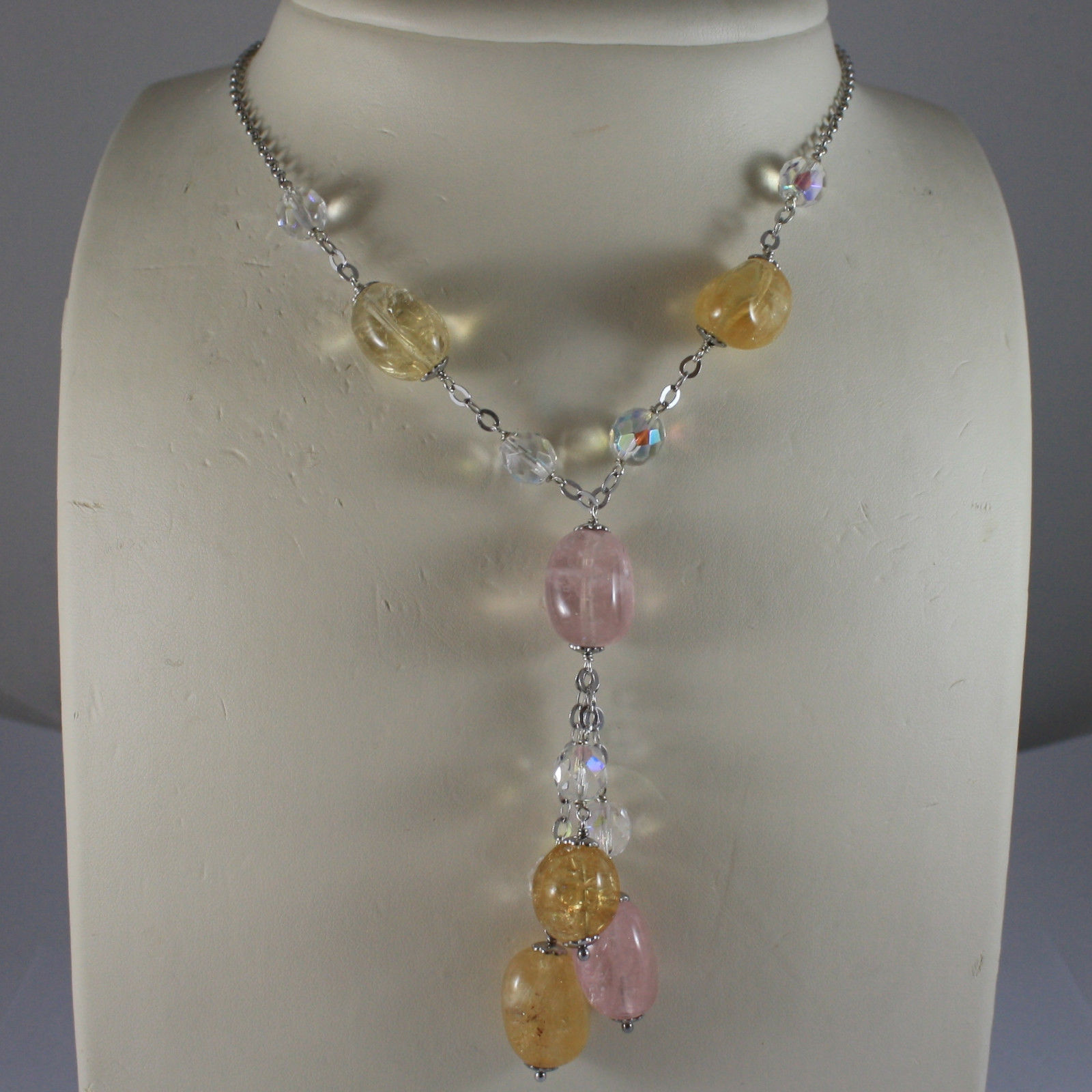 .925 STERLING SILVER NECKLACE WITH PINK QUARTZ, YELLOW QUARTZ AND CRYSTALS
