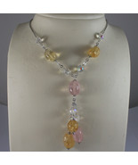 .925 STERLING SILVER NECKLACE WITH PINK QUARTZ, YELLOW QUARTZ AND CRYSTALS - $100.70