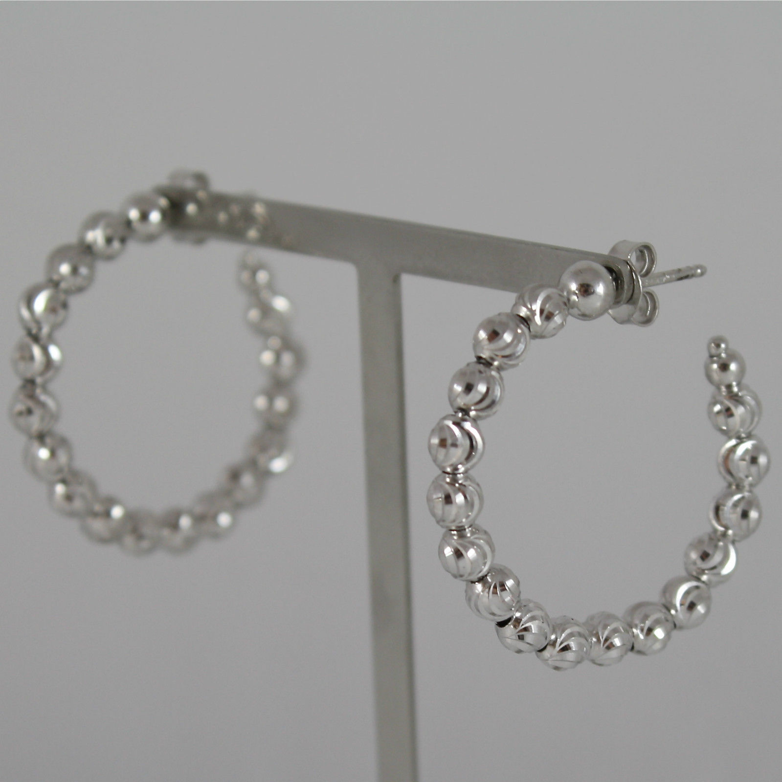 925 RHODIUM SILVER OFFICINA BERNARDI EARRINGS, FACETED BALLS MADE IN ITALY