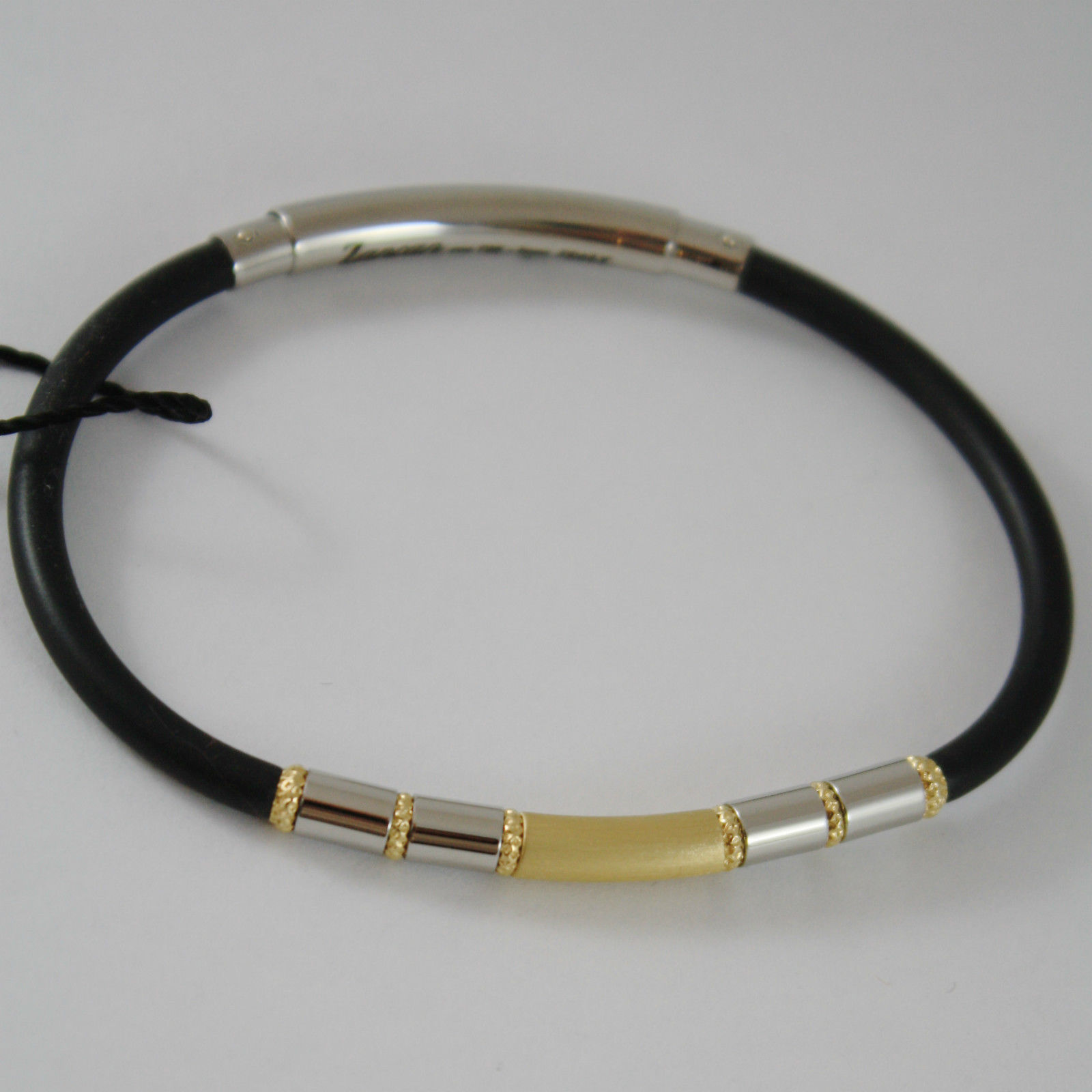 18K YELLOW GOLD, STEEL AND ROUND BLACK SILICON BRACELET BY ZANCAN MADE IN ITALY