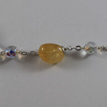 .925 STERLING SILVER NECKLACE WITH PINK QUARTZ, YELLOW QUARTZ AND CRYSTALS image 4