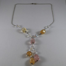 .925 STERLING SILVER NECKLACE WITH PINK QUARTZ, YELLOW QUARTZ AND CRYSTALS image 2