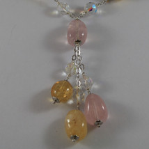 .925 STERLING SILVER NECKLACE WITH PINK QUARTZ, YELLOW QUARTZ AND CRYSTALS image 3