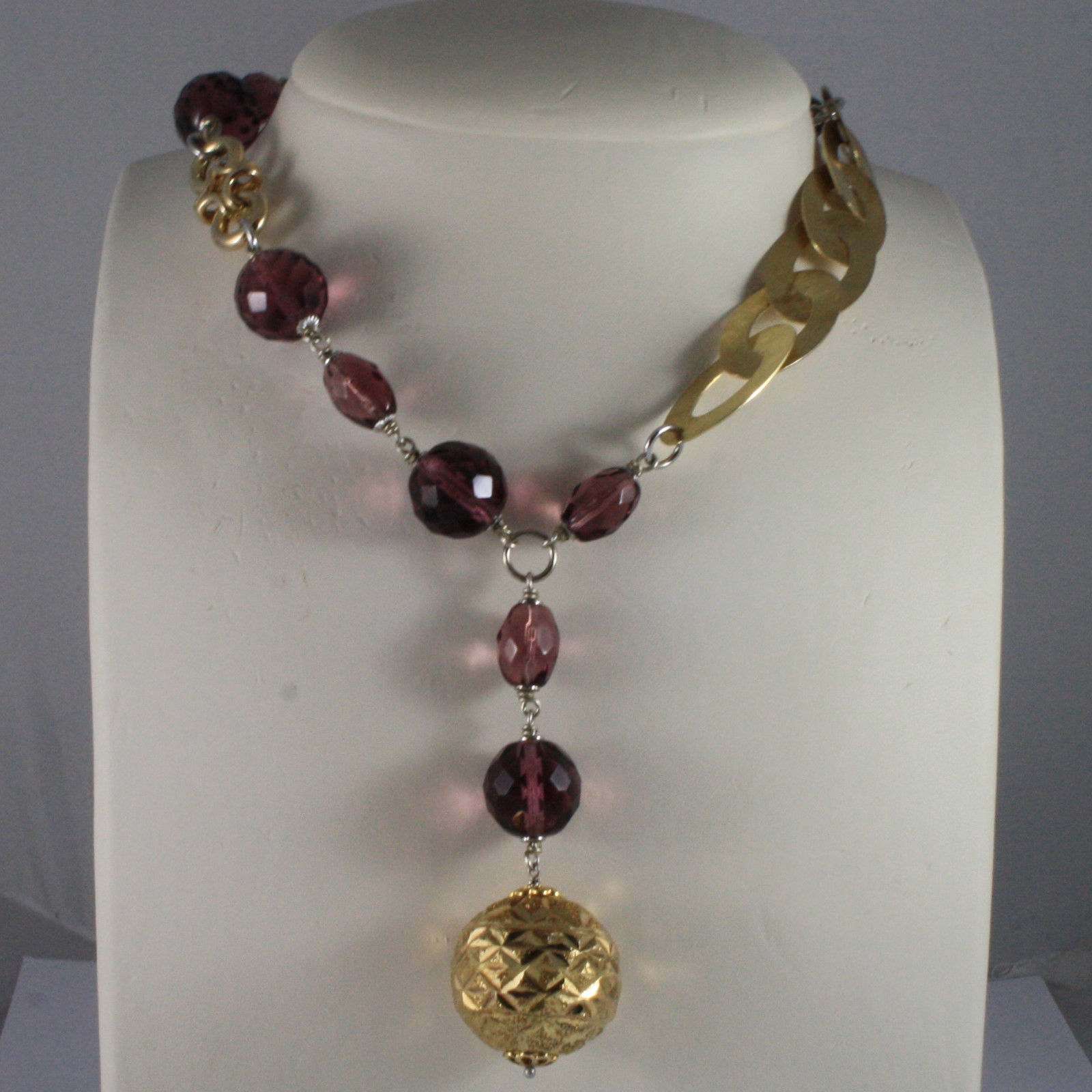 .925 SILVER RHODIUM AND YELLOW GOLD PLATED NECKLACE WITH PURPLE CRYSTALS