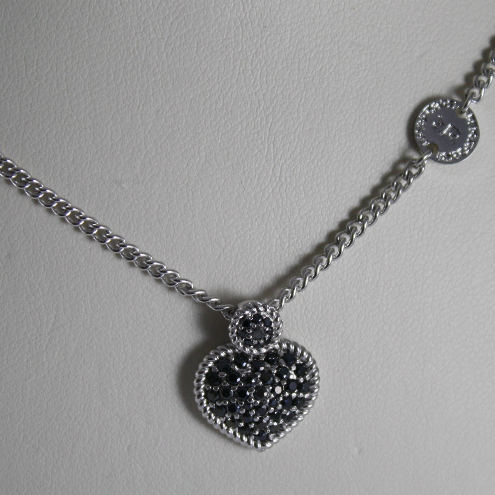 RHODIUM BRONZE NECKLACE WITH HEART B14KBN04 BLACK ZIRCONIA REBECCA MADE IN ITALY
