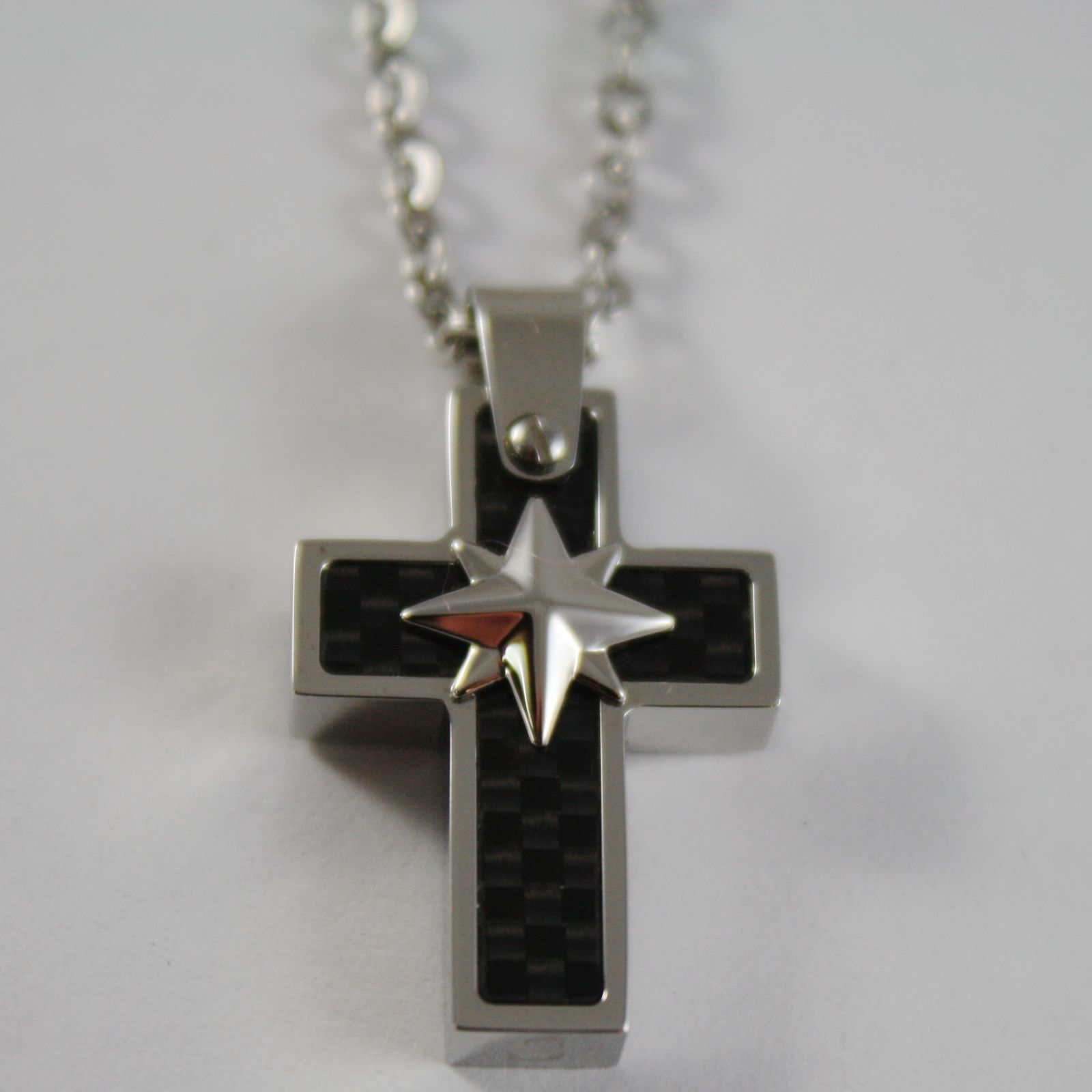 STAINLESS STEEL CARBON CROSS PENDANT, STAR, ROLO CHAIN, NECKLACE BY ZANCAN