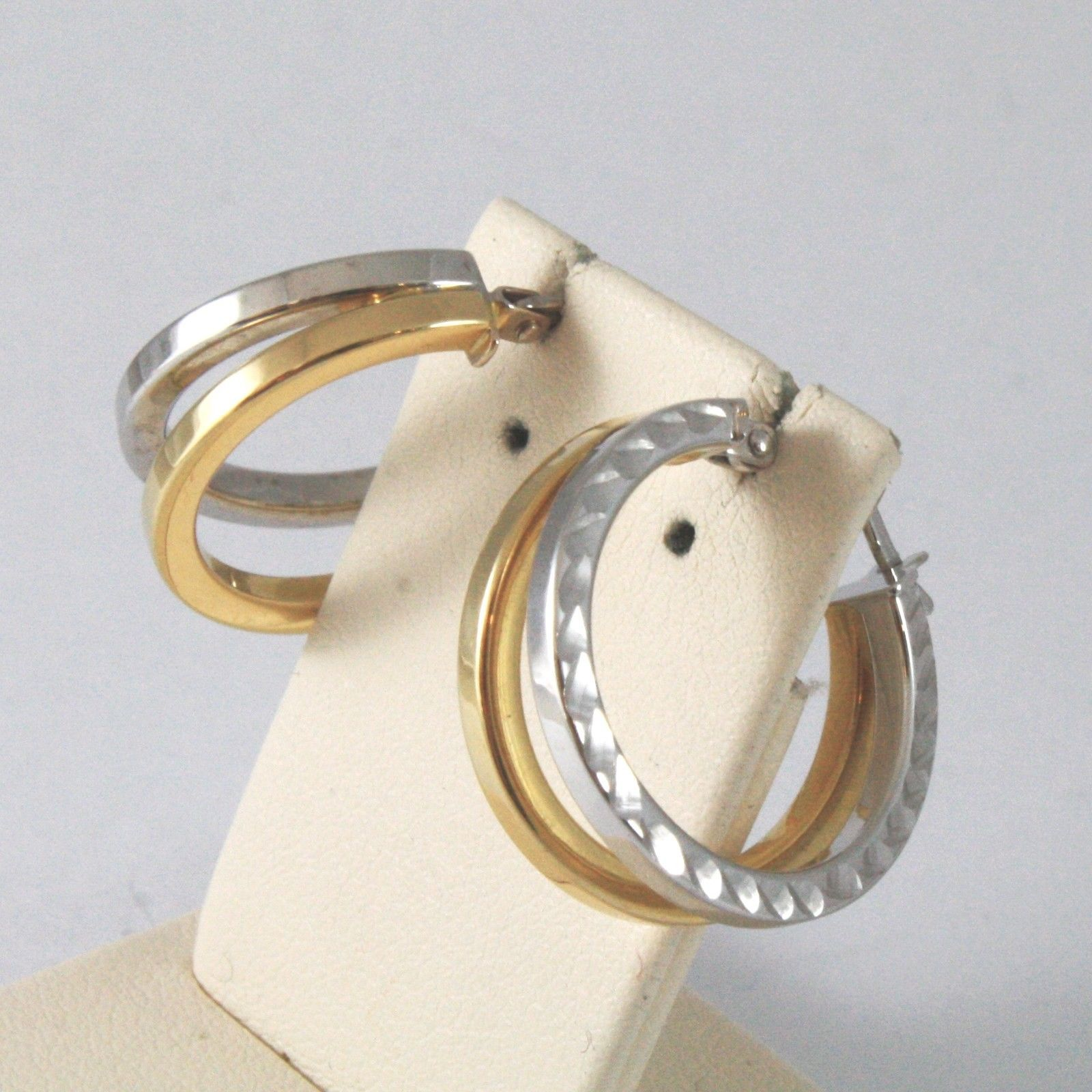 18K SOLID YELLOW AND WHITE GOLD EARRINGS WITH DOUBLE WORKED CIRCLES