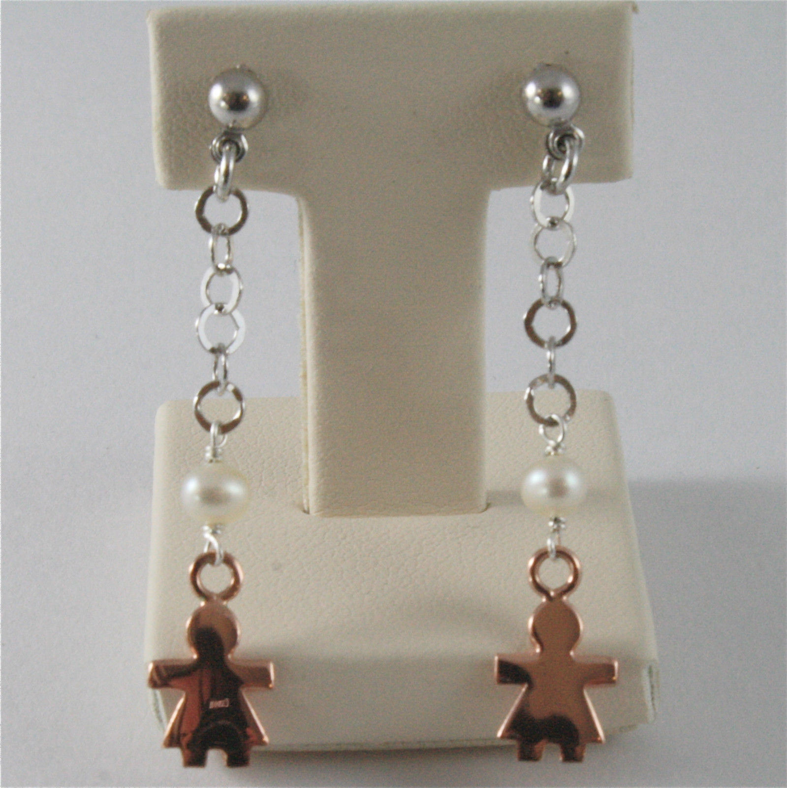 925 RHODIUM SILVER EARRINGS WITH 4 MM FW PEARLS AND BABY GIRL PENDANTS 1.77 INCH