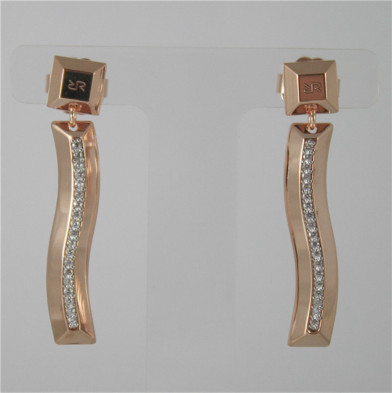 ROSE GOLD PLATED BRONZE REBECCA EARRINGS SAHARA BSAORZ34 MADE IN ITALY CRYSTAL