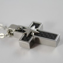 STAINLESS STEEL CARBON CROSS PENDANT, STAR, ROLO CHAIN, NECKLACE BY ZANCAN  image 2
