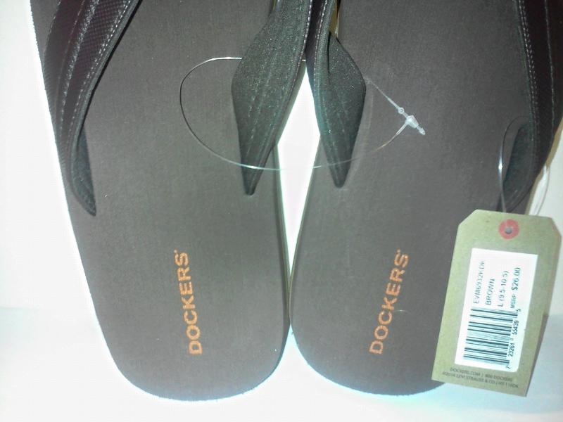 2093be654daf New Dockers Men s Flip Flops Sandals Size Large 9.5-10.5 Inch brown ...
