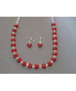 Red Lampwork  Hearts Necklace Earrings Handmade - $34.98