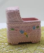 Vintage Napcoware Pink Baby Bassinet Planter Nursery Decor New Mom - $11.50