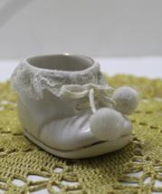 Vintage Enesco White Baby Bootie Nursery Decor Trinket boot - $5.50