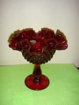 Fenton Ruby Hobnail Comport With Sticker - $20.49