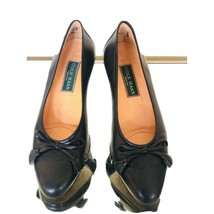 cole haan made in italy murial low pumps bow navy leather sz 8 M wms size - $35.23