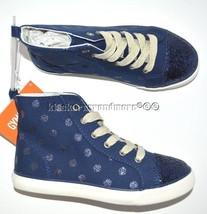 Gymboree Flight and Fancy size 2 Blue Sparkle Dot Sneakers Shoes New Twins - $27.96